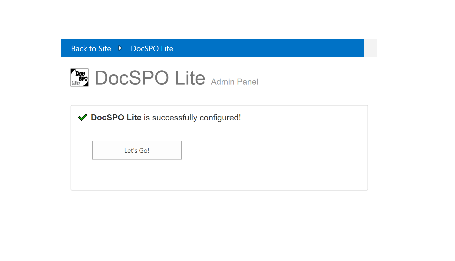 DocSPO Lite is ready to use!