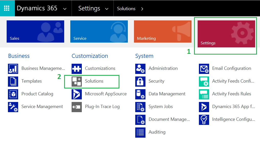Step2: Solutions gallery in Dynamics 365