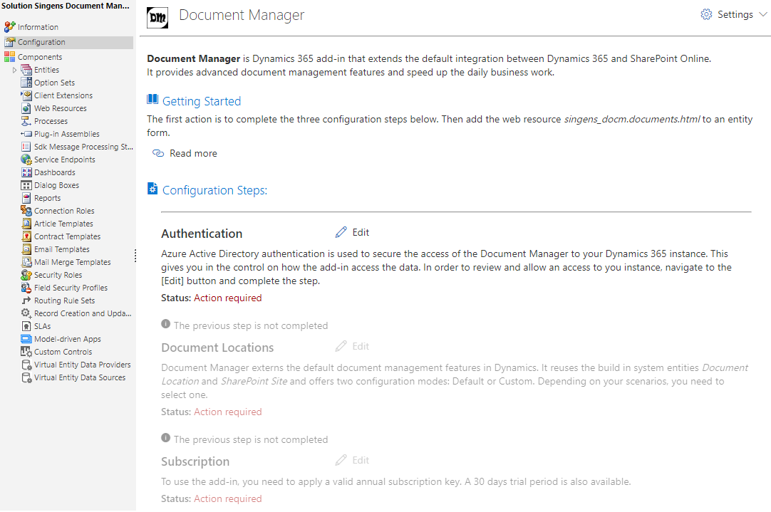 Admin Configuration Page